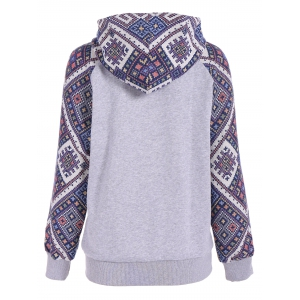 Front Pocket Jacquard Tribal Hoodie - GRAY/BLUE XL