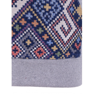 Front Pocket Jacquard Tribal Hoodie - GRAY AND BLUE M