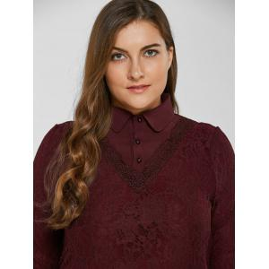 Lace Patchwork Scalloped Blouse -