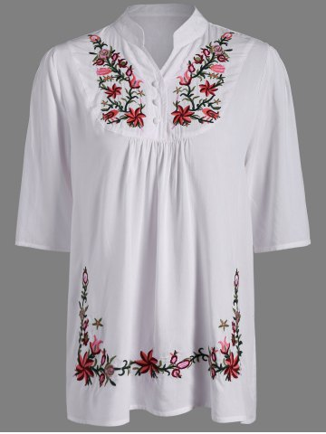 Fancy Flower Embroidered Ruffle Blouse WHITE 4XL