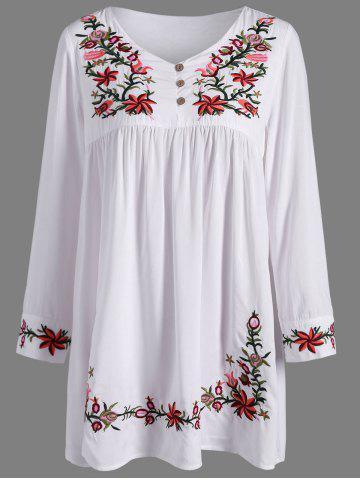 Online Ruffle Flower Embroidered Dress