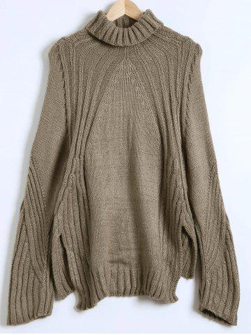 Online Slit High-Low Loose Sweater KHAKI ONE SIZE
