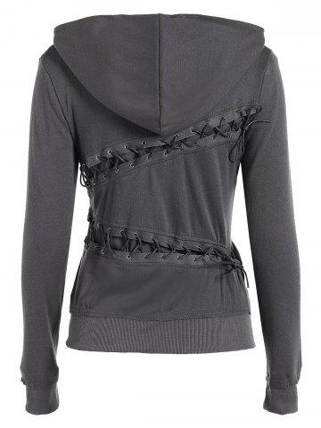 Gray Trendy Hooded Long Sleeve Lace Up Solid Color Women S