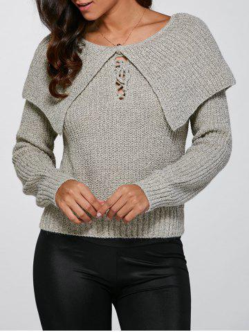 Fashion Lace-Up Pullover Knitted Sweater