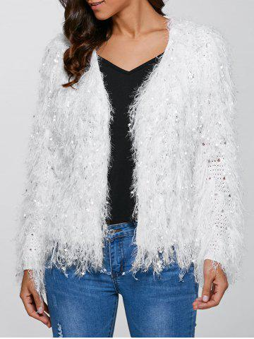 Unique Feather Tassels Hand-Knitted Cardigan WHITE L