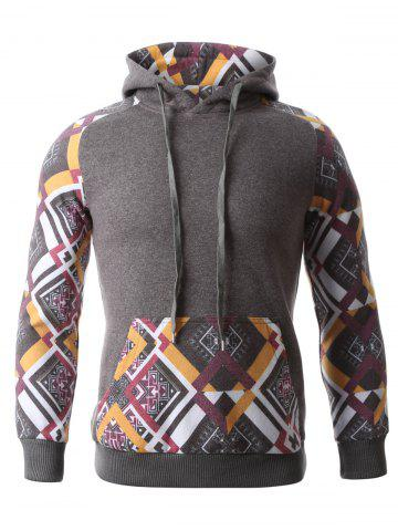 Fancy Geometric Print Splicing Raglan Sleeve Hoodie