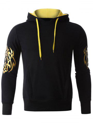 Outfits Golden Printed Long Sleeve Hoodie BLACK M