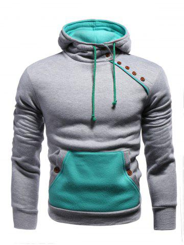 Latest Color Block Splicing Oblique Buttons Embellished Hoodie