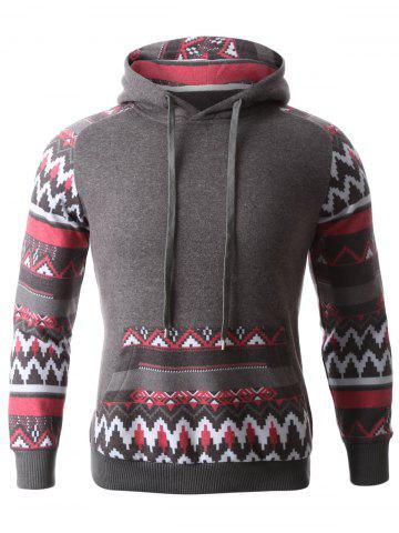 Cheap Geometric Print Spliced Raglan Sleeve Hoodie DEEP GRAY XL