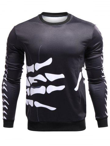 Buy 3D Surround Bones of Hand Print Crew Neck Sweatshirt BLACK XL