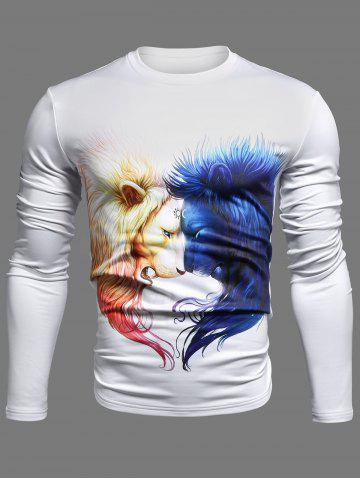 Outfit Crew Neck 3D Symmetrical Lion Print Long Sleeve T-Shirt