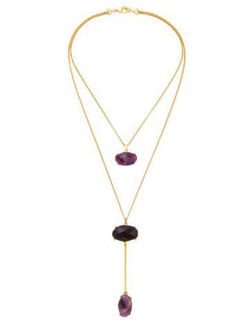 Fancy Natural Stone Layered Pendant Necklace GOLDEN