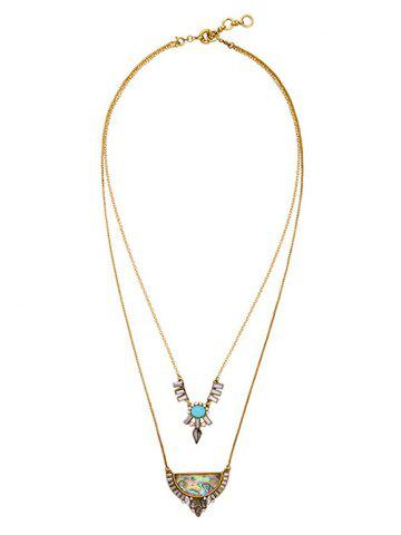 Trendy Faux Gem Rhinestone Moon Water Drop Layered Necklace