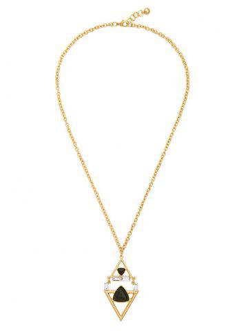 Outfit Rhombus Triangle Faux Gem Necklace BLACK