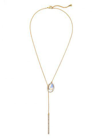 Discount Water Drop Rhinestone Faux Gem Bar Pendant Necklace