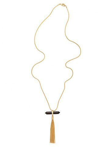 Outfits Bullet Chain Tassel Natural Stone Pendant Necklace