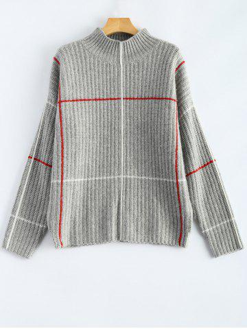Chic Checked Mock Neck Jumper