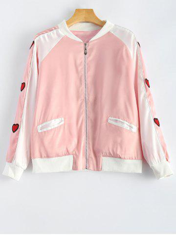 Shop Heart Appliqued Letter Embroidery Jacket