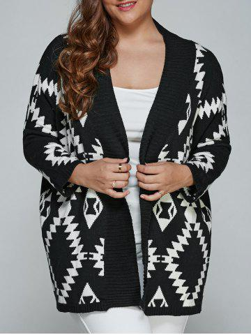 New Plus Size Geometric Loose Sweater Kimono Cardigan