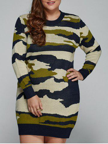 Discount Plus Size Camo Print Fitted Sweater Dress