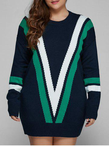 Best Plus Size V Shape Patchy Fitted Winter Jumper Dress
