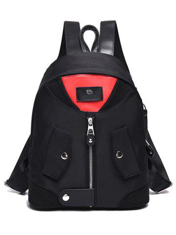 Online Snap Closure Nylon Colour Block Backpack - RED WITH BLACK  Mobile