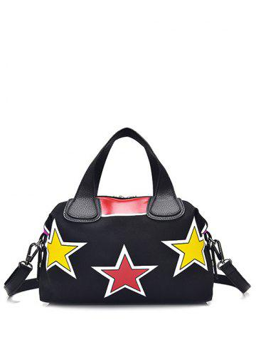 Discount Color Spliced Star Pattern Zipper Tote Bag