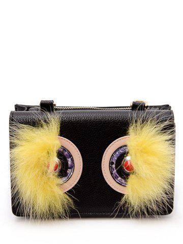 Color Block Faux Fur Rivets Crossbody Bag - Black