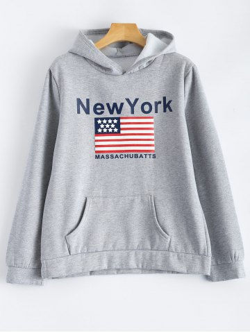 Fashion Pocket Fleece New York Letter Flag  Hoodie