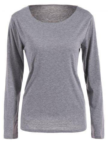 Online Scoop Neck Fitting Thin T-Shirt