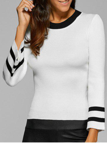 Discount Ribbed Knitted Bell Sleeves Pullover