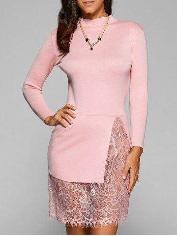 New Laciness Patchwork Knitted Pullover SHALLOW PINK ONE SIZE