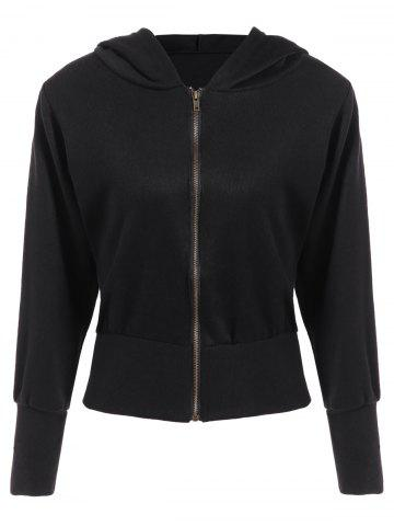 Store Hooded Loose Zip-Up Jacket BLACK XL