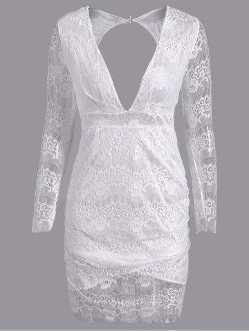 Latest Plunge Lace Backless Long Sleeve Bodycon Dress WHITE XL