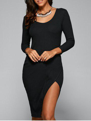 Fancy 3/4 Sleeve Slit Pencil Dress