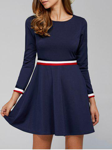 Latest Hidden Zip Striped Dress DEEP BLUE M