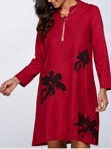 Shops Floral Print Linen Pocket Design Dress RED XL