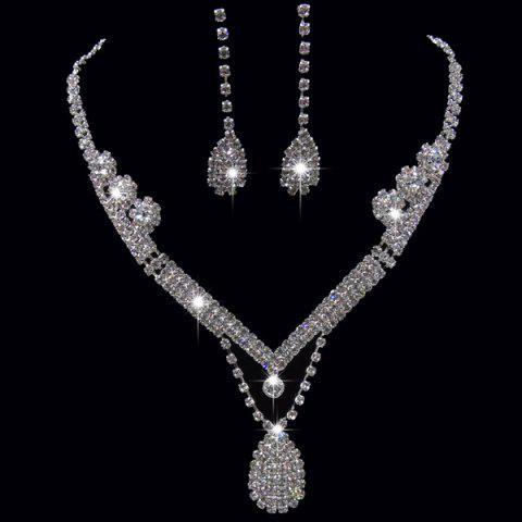 Shop Rhinestoned Teardrop Shape Jewelry Set SILVER