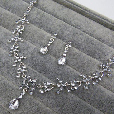 Best Wedding Floral Tear Shape Necklace Set - WHITE  Mobile