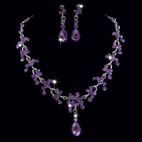 Best Wedding Floral Tear Shape Necklace Set - PURPLE  Mobile