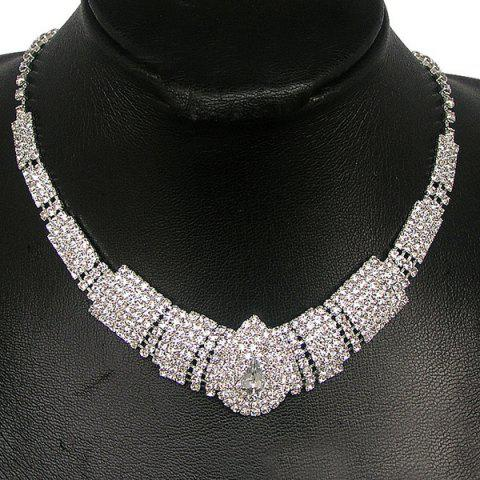 Outfit Tiered Rhinestone Teardrop Shape Necklace Set