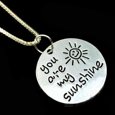 Trendy Engraved You Are My Sunshine Alloy Necklace - SILVER  Mobile