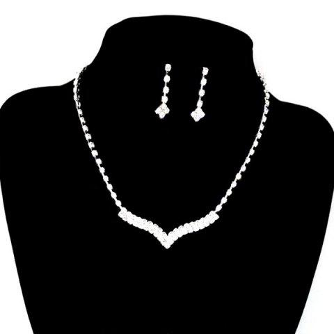 Trendy V Shape Rhinestone Wedding Necklace Set