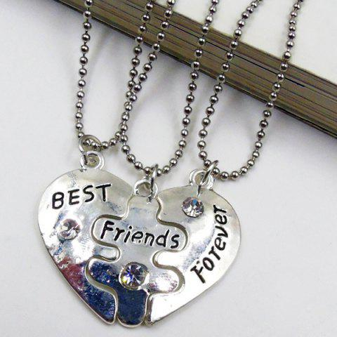 Fashion Rhinestone Divided Heart Pendant Necklace