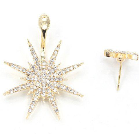Shop 1PC Rhinestone Double Star Earring - CHAMPAGNE  Mobile