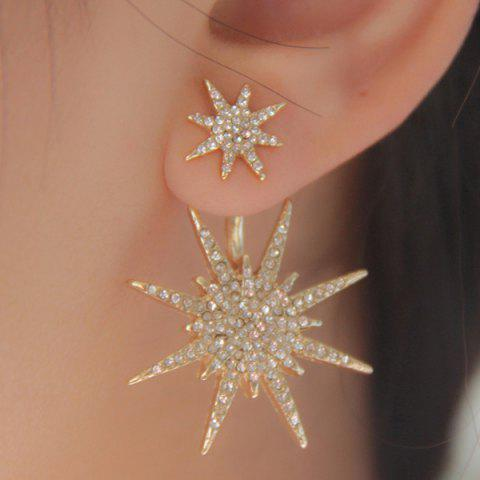 1PC S Rhinestone Double Star Earring - Champagne