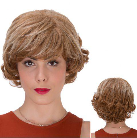 Shop Short Full Bang Curly Brown Highlights Synthetic Wig