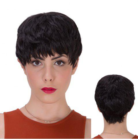 Unique Short Full Bang Layered Straight Synthetic Wig BLACK