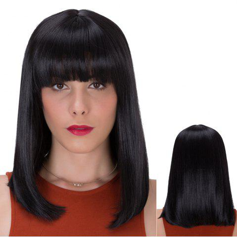 Trendy Gorgeous Medium Neat Bang Straight Synthetic Wig BLACK