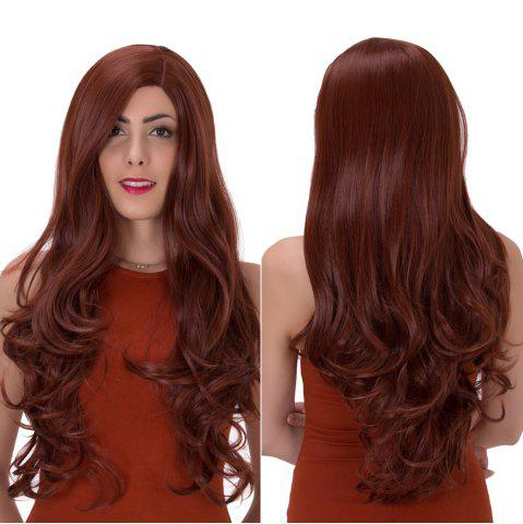 Hot Long Side Parting Wavy Impressive Synthetic Wig DARK AUBURN